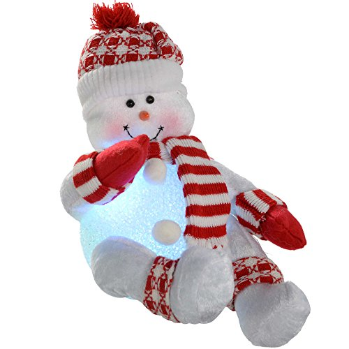WeRChristmas Pre-Lit Novelty Sitting Snowman With Led Light Up Body And Legs Christmas Decoration, 19 ()