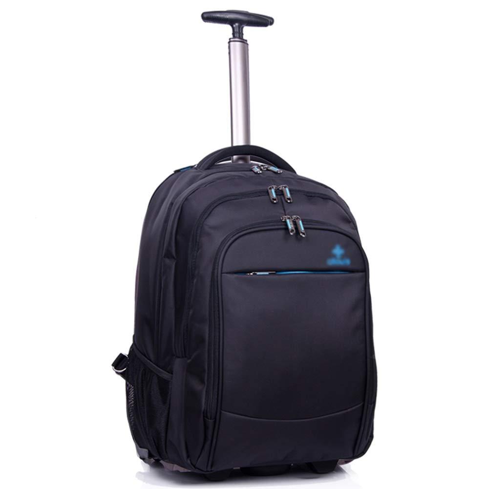 動かされたバックパック、旅行のための車輪が付いているトロリーバックパックポリエステル圧延のバックパック ZHANGAIZHEN (色 : 黒, サイズ さいず : 35*28*48cm) 35*28*48cm 黒 B07PK6TF3Z