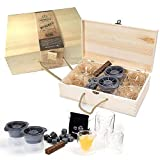 Clydescot GLASGOW - 21pcs Whiskey Lovers Gift Set - Cooling Stones, 4 tumblers + Ice mold, smoked oak whiskey flavoring stick + Wooden Gift box.