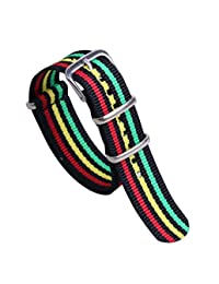 18mm Black/Red/Yellow/Green Colorful Classic Fashion Men's One-piece NATO style Nylon Watch Bands Straps