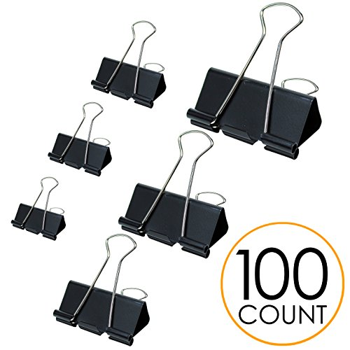 Binder Clips Paper Clamp - Assorted Sizes 100 Count (Black) Heavy Duty Metal Clip | Perfect for Home & Office