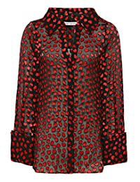 Alice and Olivia Women's Silk Emmerson Shirt Mini Hearts
