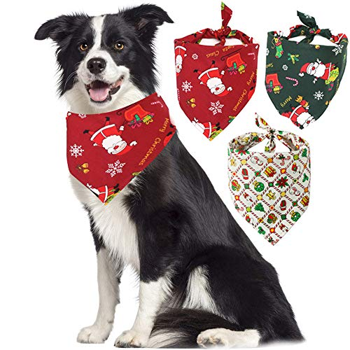 Nigua 3 Pack Dog Bandana Christmas Reversible Triangle Bibs Pet Scarf Accessories for Small Medium Large Dogs Cats Pets