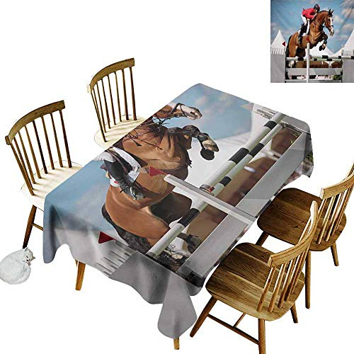 Jumping Embroidered Horse - Mannwarehouse Horse Restaurant Tablecloth Jumping Horse and Sportsman Race Competition Performance Success Winning Event Print Picnic W54 x L72 Multicolor