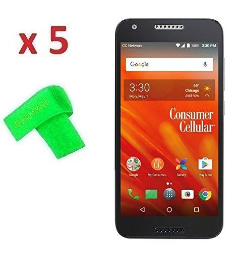 5 x Consumer Cellular Alcatel Kora Screen Protector Guard CLEAR PRE-CUT No Cutting Require Perfect Fit + EXTREME BRAND (5 x Clear Screen Protector)