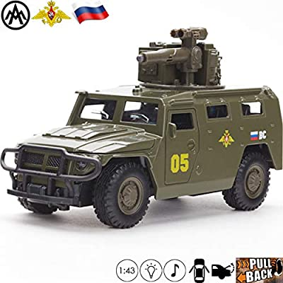 1:43 Scale Diecast Metal Model Infantry Mobility Vehicle Tigr BRShM Russian Army Toy Cars: Toys & Games