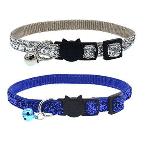(Fairy Pet Bling Cat Collar Adjustable Breakaway Pet Collar with Bells Glitter,Set of 2)