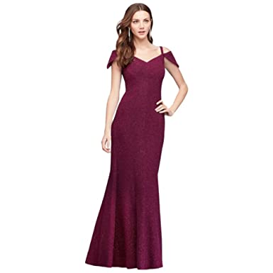51f5dd837 Textured Glitter Off-The-Shoulder Mermaid Gown Style 21557, Burgundy, 4 at  Amazon Women's Clothing store: