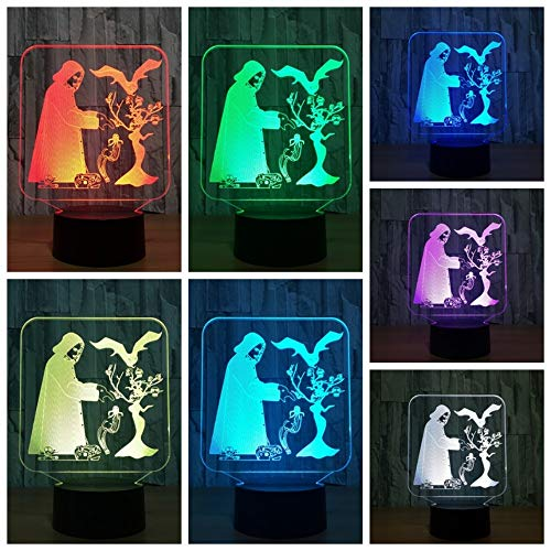 3D Night Light Desk Lamp Dimmable Touch & Remote Control Halloween Style 7 Colors Light Battery Or USB Powered Boys Girl Toy Decor for Christmas Birthday Party Gifts Children Kids -