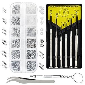 baotongle Eyeglasses Repair Kit 1100Pcs Small Screws and Nose Pads Set with 6 Pcs Screwdrivers for Glasses, Sunglasses and Watch Repair