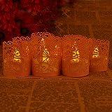 Asenart Flameless Tea Light Votive Wrap Candle Holder Set (50 Pack) for LED Battery Tealight Candles (Not Included) (Pink)