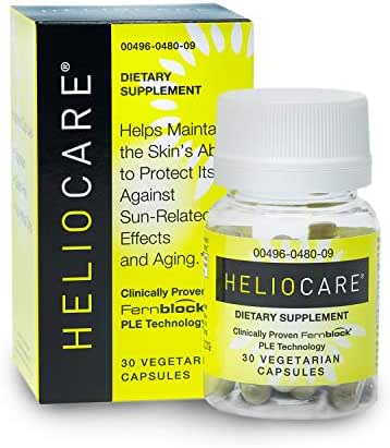 Heliocare Skin Care Dietary Supplement: 240mg Polypodium Leucotomos Extract Pills - Antioxidant Rich Formula with Fernblock and PLE Technology - 30 Veggie Capsules