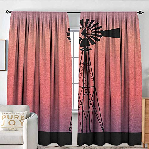 - NUOMANAN Blackout Curtains Windmill,Windmill Silhouette at Dreamlike Sunset Western Ranch Agriculture Theme, Coral Lilac and Black,for Room Darkening Panels for Living Room, Bedroom 54