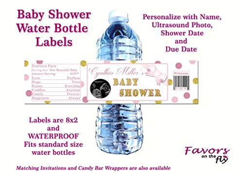Ultrasound Baby Shower Invitations (Pink & Gold Princess Baby Shower water bottle labels personalized with ultrasound photo- Waterproof!)