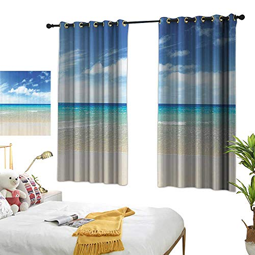 """berrly Navy Curtains Ocean Decor Collection,Tropical Sandy Beach at Summer Sunny Day Picture Print,Blue Turquoise White Ivory 63""""x72"""",Kids Blackout Thermal Curtain Panel from berrly"""