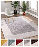"Porta Border Modern Geometric Shag 7×10 ( 6'7"" x 9'10"" ) Area Rug GreyBeige Plush Easy Care Thick Soft Plush Living Room"