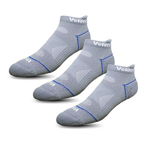 Veloce Athletics Ankle Socks for Men & Women: Cool-Silver Anti-Odor Training & Running Comfort Sock,Cool Gray,Small/Medium 3 Pack from Veloce Athletics