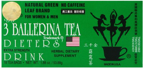 - 3 Ballerina Tea Dieters Drink, Extra Strength, 18-Count Tea Bags