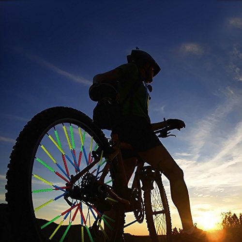 emisor de radios para la Bicicleta com-four/® 12x Reflectores de radios Clips de radios reflectores para una conducci/ón Segura y m/ás Seguridad al anochecer y a oscuras