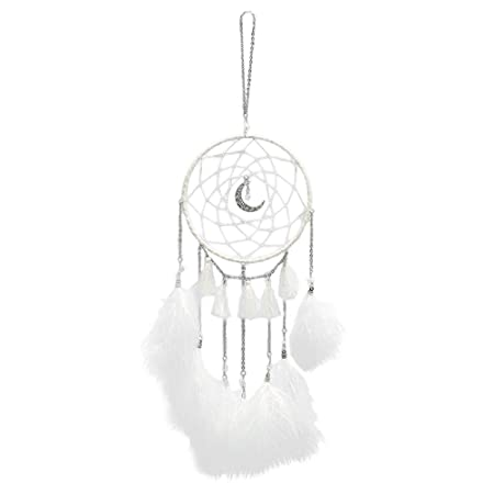 VORCOOL Creative Moon Dream Catcher Handmade Wall Hanging Wind Chime Pendant Home Decoration Gift Decorative Ornament with Light String White