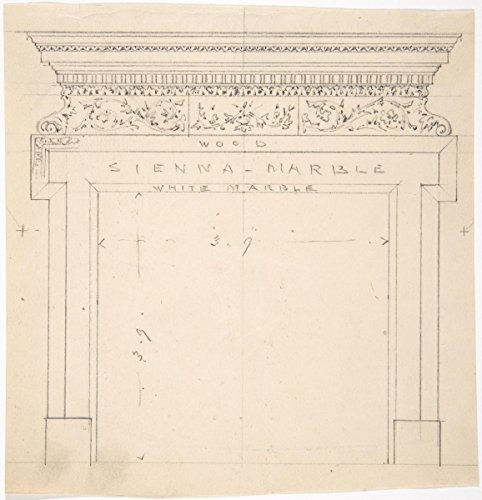 Fine Art Print | British, 19th Century | Design for a Marble Fireplace | Vintage Wall Art | 16in x 16in