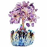 mookaitedecor Amethyst Crystal Tree, Quartz Cluster Rainbow Titanium Crystals Base Bonsai Money Tree for Wealth and Luck