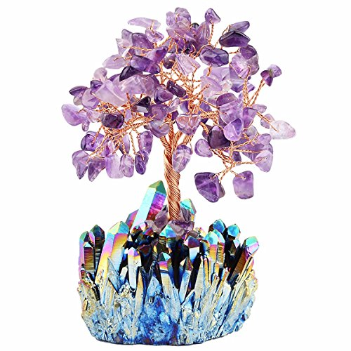 mookaitedecor Amethyst Crystal Tree, Quartz Cluster Rainbow Titanium Crystals Base Bonsai Money Tree for Wealth and Luck -