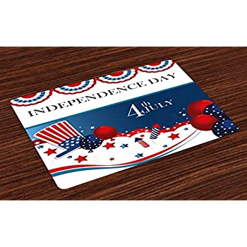Ambesonne 4th of July Place Mats, Cartoon Style Fireworks Uncle Sam Hat Stars and Balloons Patriotic Illustration, Washable Fabric Placemats for Dining Room ...