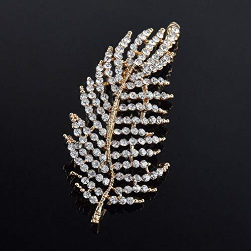 Wedding Women Girls Rhinestone Scarf Pin Hollow Brooch Leaf Brooch | color - gold