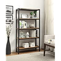 5-tier Vintage Brown Industrial Look Black Metal Bookcase Bookshelf Shelf Heavy Duty