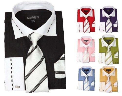 George's Mens Two-Tone Fashion Dress Shirts w/Matching Tie, Hanky & French Cuffs