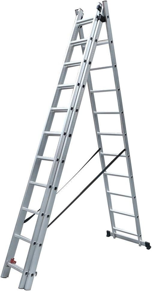 Panana Multi Combinación propósito escalera aluminio extensión escaleras – doble y Triple EN131 sections- 2 y 3 sección 2,5 m-7.2 m incluye estabilizador BAR: Amazon.es: Bricolaje y herramientas