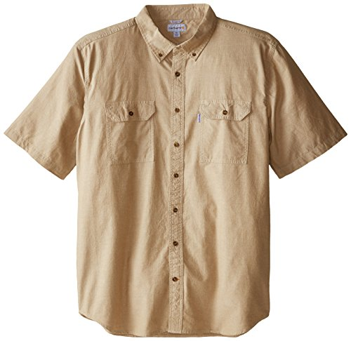 Carhartt Men's Big & Tall Fort Short Sleeve Shirt Lightweight Chambray Button Front,Dark Tan Chambray,XXX-Large Tall