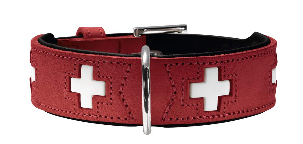 Hunter Collar Swiss for Dogs (Organic Leather) Durable and Stylish Lined with Soft Cowhide Nappa - Lifetime Quality (Non-Toxic) Size 50 - Adjustable 14''-17'' - Red