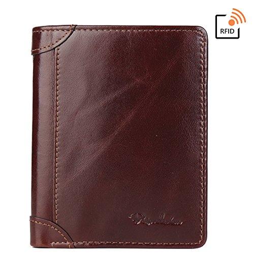 BISON DENIM Vintage Bifold Wallets RFID Blocking Leather Credit Card Holder Wallet Brown