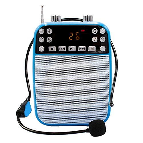 XIAOKOA Ultralight Portable Voice Amplifier With Wired Microphone, MP3 Player(SD TF Card/ Flash Drive), FM Radio For Teacher, (Flash Mp3)