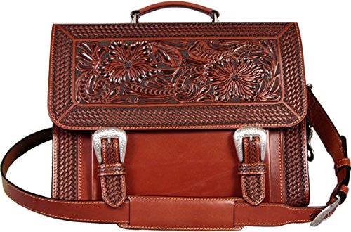 Executive hand-tooled, Tan full grain leather Briefcase (Tooled Leather Luggage)