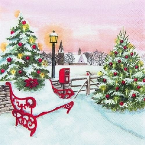 4 x Paper Napkins - Christmas Park - Ideal For Decoupage / Napkin Art Home Fashion