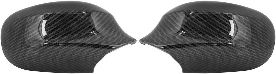 X AUTOHAUX Pair New Exterior Rear View Mirror Housing Door Wing Mirror Cover Cap Carbon Fiber Pattern for BMW E90 2009-2011