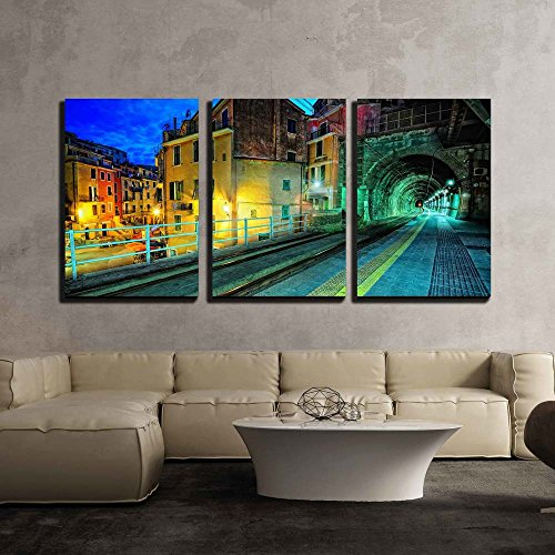 Train Platform and a Tunnel in Vernazza Village Italy x3 Panels