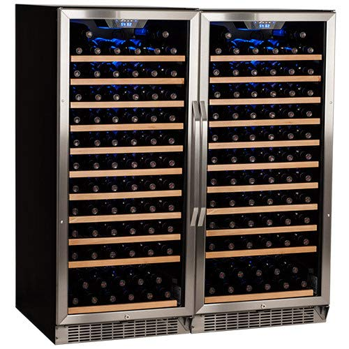 Edgestar 242 Bottle Built-In Side-by-Side Wine Cellar Stainless Steel - Black