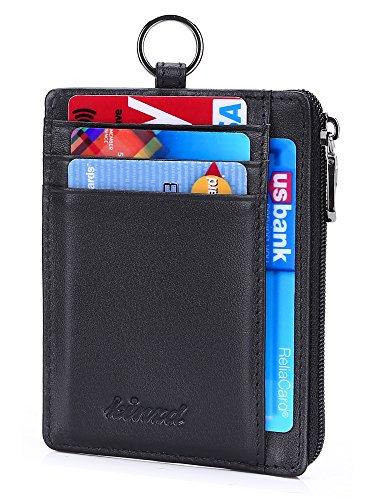Kinzd Leather Zip Credit Card Holder Wallet with ID Window Keychain Neck Lanyard/Strap (Zip Card)