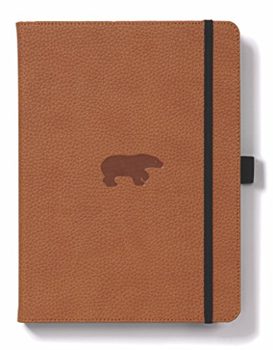 Dingbats Wildlife Medium A5+ (6.3 x 8.5) Hardcover Notebook - PU Leather, Perforated 100gsm Cream Pages, Pocket, Elastic Closure, Pen Holder, Bookmark (Lined, Brown Bear)