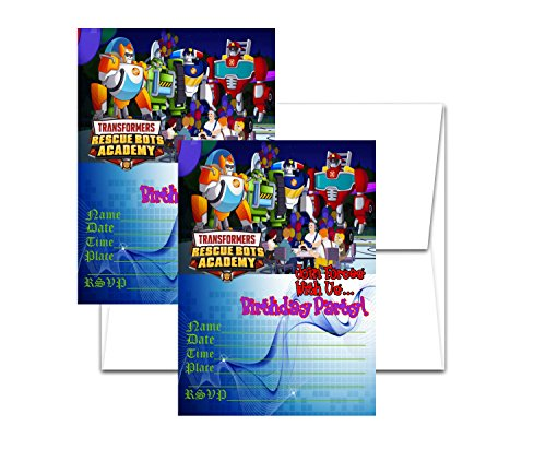 12 RESCUE BOTS Birthday Invitation Cards (12 White Envelops Included) - Invitations Party Birthday Rescue