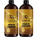 Argan Oil Shampoo and Conditioner Set - Sulfate Free All Natural Hair Repair Treatment, Clarifying Volumizing & Moisturizing, Color Safe, Gentle for Curly & Color Treated Hair (2x 16oz)