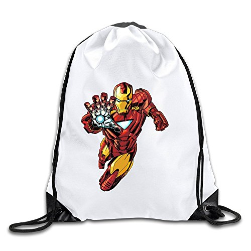 Ironman Lightweight 100% Polyester Drawstring Drawstring Backpack White One - Tampa Ironman