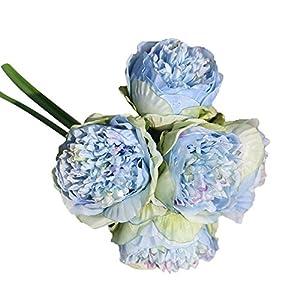 Mikilon 1Bouquet 5 Heads Artificial Peony Silk Flower Leaf Home Bridal Wedding Party Festival Bar Decor 12