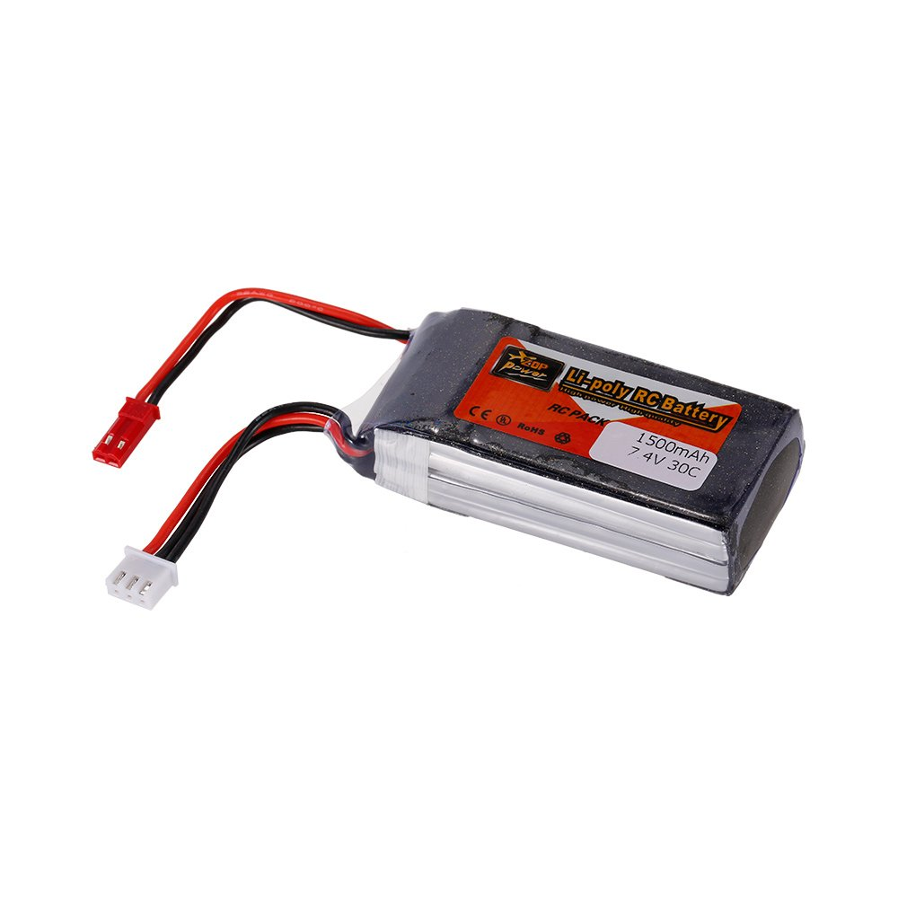 Goolsky Batería del LiPo de la energía 2S 7.4V 1500mAh 30C JST de la energía de ZOP para QAV250 H210 LS180 FPV que compite con el barco del coche de ...