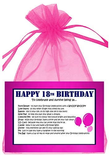 18th BIRTHDAY SURVIVAL KIT PINK GIFT CARD PRESENT Amazoncouk Kitchen Home