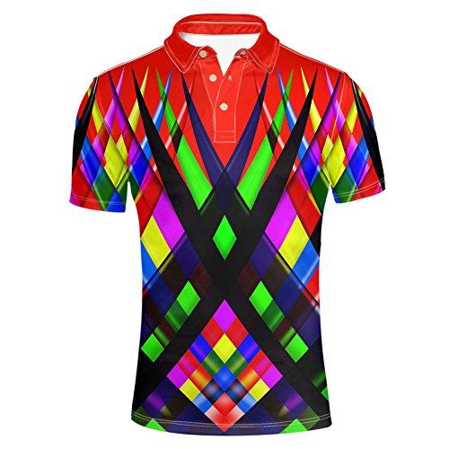Edition Golf Shirt - HUGS IDEA Men's Red Coller Polos T-Shirts Fashion Breathable Summer Short Sleeve Turn Down Collar Shirts Tees